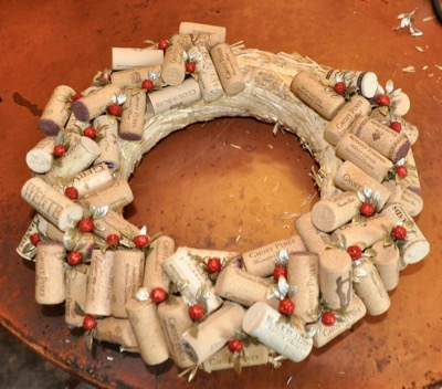 Wine Cork Wreath Almost Finished