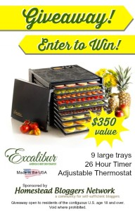 Excalibur Dehydrator Giveaway via Better Hens and Gardens